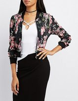 Charlotte Russe Floral Micro Pleated Bomber Jacket