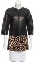 Celine Leather Ponyhair-Accented Jacket