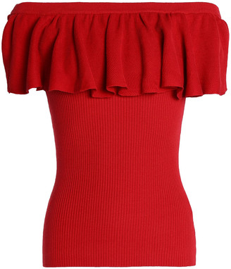 Autumn Cashmere Off-the-shoulder Ruffled Ribbed Cotton Top