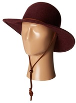 "San Diego Hat Company WFH7920 3"" Brim Felt Round Top Floppy w/ Leather Band & Chin Cord"