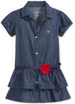 GUESS GUESS' Polka-Dot Drop-Waist Denim Dress, Little Girls (2-6X)