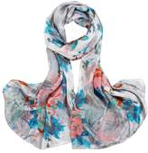Smartstar Trendy Women Girl Flower Pattern Soft Long Wrap Shawl Silk Scarves