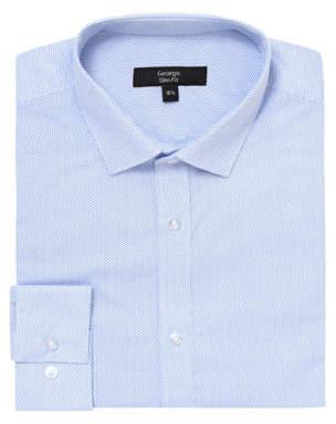 George Blue Micro Dot Slim Fit Long Sleeved Shirt
