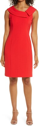 Harper Rose Envelope Collar Crepe Sheath Dress