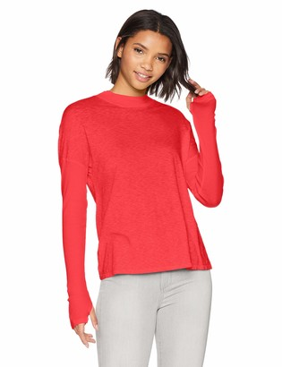 Michael Stars Women's Supima Cotton slub Long Sleeve Mock Neck top