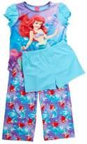 Disney Little Girls' Ariel Little Girls' Mermaid 3 Piece Pajama Set 4