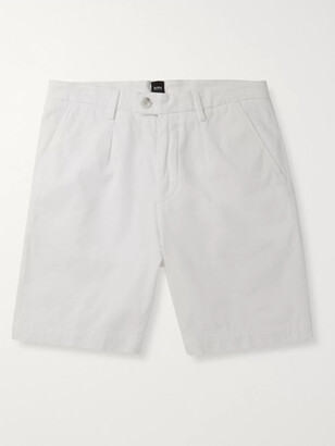 HUGO BOSS Slim-Fit Pleated Stretch-Cotton Shorts
