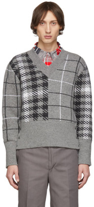 Thom Browne Grey Fun-Mix V-Neck Pullover