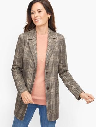 Talbots Long Wool Blend Blazer - Glen Plaid