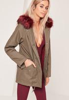 Missguided Contrast Faux Fur Lined Parka Jacket Khaki