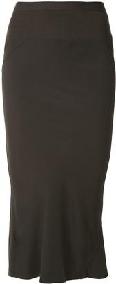 Rick Owens Diagonal Seam Midi Skirt