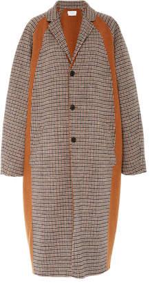 Deveaux Double-Faced Wool Check Color Block Raglan Coat