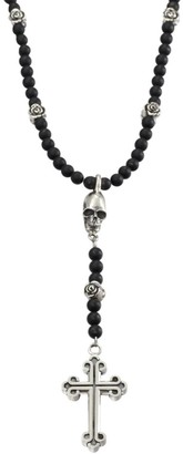 King Baby Studio Onyx Beaded Rosary Necklace