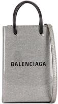 Balenciaga Glitter Shopping Phone on Strap Bag in Silver | FWRD