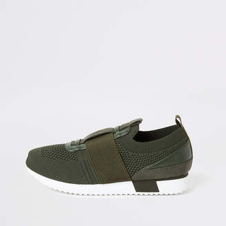 River Island Boys khaki knitted runner trainers