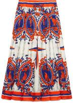 Gucci print silk pleated skirt