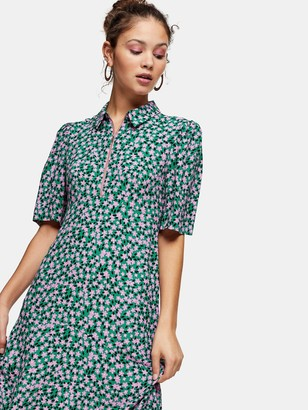 Topshop Floral Ditsy Print Zip Front Midi Dress - Green