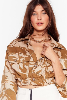 Nasty Gal Womens Vintage In Line Cropped Camo Jacket - Sand
