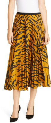 ADAM by Adam Lippes Pleated Tiger Print Voile Midi Skirt