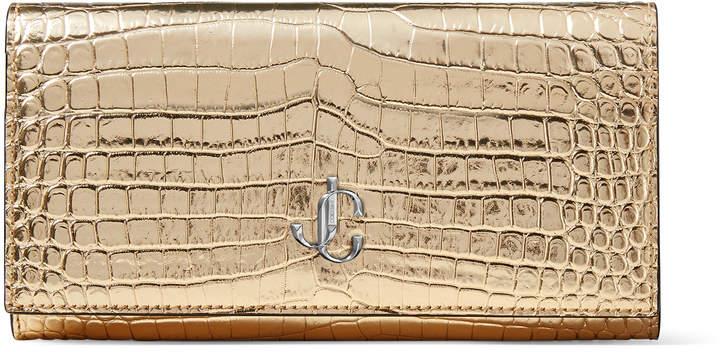 Jimmy Choo MARTINA Metallic light-gold Croc-Embossed Leather Wallet with JC Emblem