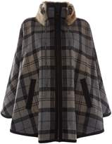 Barbour Portree Wool Cape With Faux Fur Collar