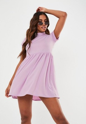 Missguided Lilac Rib Short Sleeve Smock Dress