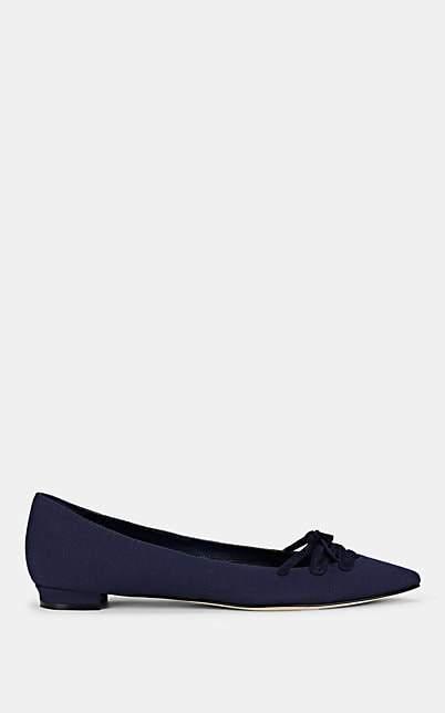 Manolo Blahnik Women's Sirte Linen Flats - Blue Linen