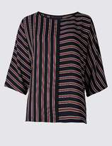 Marks and Spencer Kimono Striped 3/4 Sleeve Shell Top