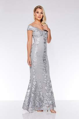 Quiz Grey Mesh Embroidered Bardot Maxi Dress