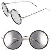Linda Farrow Women's 52Mm Round 18 Karat White Gold Trim Sunglasses - Black Aluminum/ Gold/ Platinum