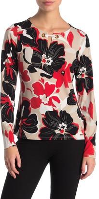Calvin Klein Long Sleeve Grommet Detail Printed Blouse (Petite)