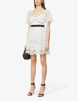 Self-Portrait Floral-embroidered lace mini dress