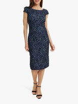 Thumbnail for your product : Gina Bacconi Xena Floral Lace Cocktail Dress, Navy