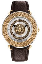 Versace V-Meta Medusa Two-Tone Stainless Steel Leather Strap Watch