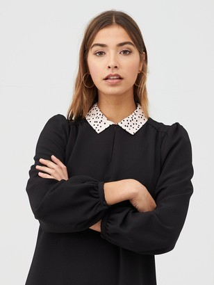 Warehouse Spot Collar Shift Dress - Black