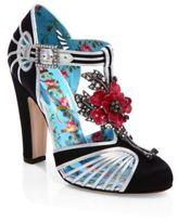 Gucci Mariska Jeweled Satin T-Strap Pumps