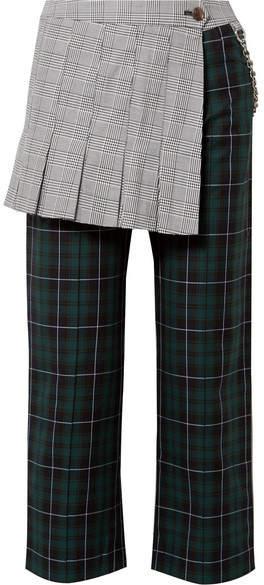 Sandy Liang Layered Checked Cotton-canvas Straight-leg Pants - Emerald