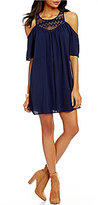 Sequin Hearts Lace Yoke Cold-Shoulder Shift Dress