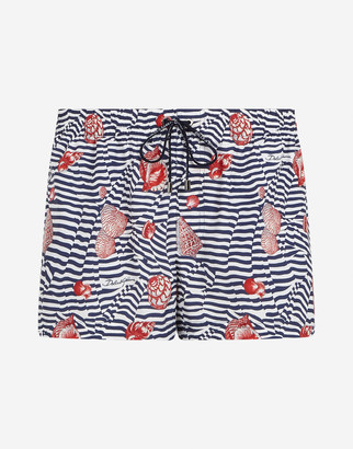 Dolce & Gabbana Short Swimming Trunks With Shell Print