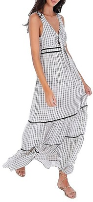 Allison New York Check Tie-Front Maxi Dress