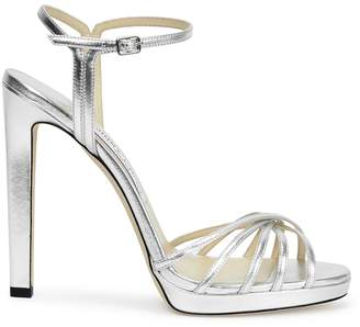 Jimmy Choo Lilah 120 Silver Leather Sandals