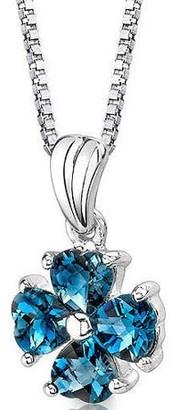 "Oravo 2 ct Heart Shape London Blue Topaz Pendant Necklace in Sterling Silver, 18"""