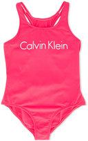Calvin Klein Kids - racerback logo swimsuit - kids - Polyamide/Spandex/Elastane - 12 yrs