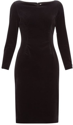 Goat Intrigue Boat-neck Velvet Dress - Womens - Black