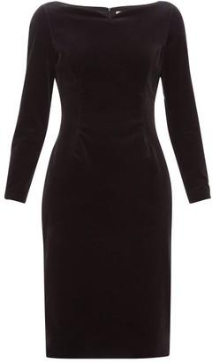 Goat Intrigue Boat-neck Velvet Dress - Womens - Black