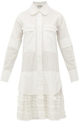 Lee Mathews Elsie Ruffle-trimmed Cotton-poplin Shirt Dress - White