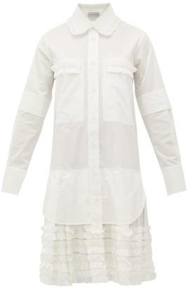 Lee Mathews - Elsie Ruffle-trimmed Cotton-poplin Shirt Dress - Womens - White