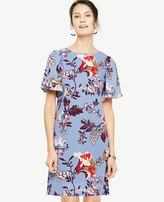 Ann Taylor Floral Flutter Sleeve Shift Dress