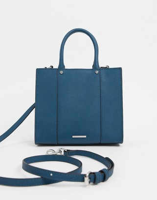 Rebecca Minkoff mab leather mini tote bag with front pocket in dark blue