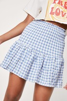 Thumbnail for your product : Nasty Gal Womens Shirred Gingham Print Mini Skirt - Blue - L